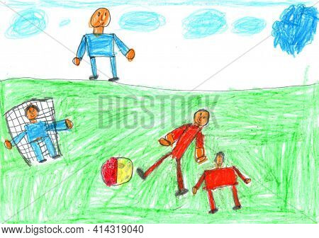 Child Drawing Of A Happy Sports Family Playing Soccer With Kids.active Healthy Lifestyle Concept.pen