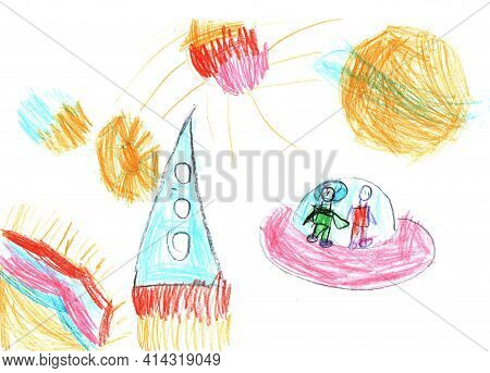 Watercolor Children Drawing. Flight Of The Rocket And Astronauts In The Universe And The Space Plane
