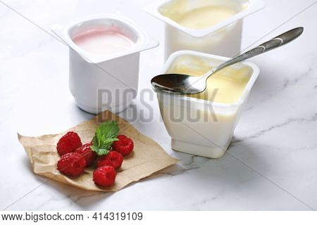 Fresh Organic Yogurt With Berries.breakfast,healthy Nutrition.raspberry Dessert.