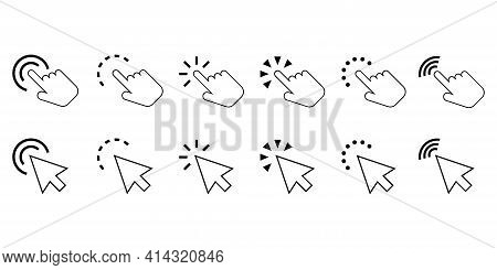 Pointer Cursor Icons. Click Button. Website Arrows Or Hands Cursors Tools