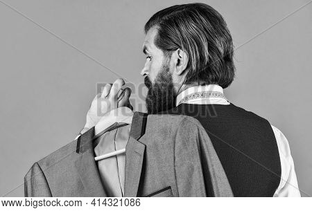 My Choice. Man With Suit. Tailor In His Workshop. Handsome Bearded Fashion Man In Classical Costume