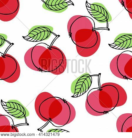 Red Apple With Leaf Hand Drawn Sketch Seamless Pattern. Bright Summer Fruit. Outline Vector Illustra