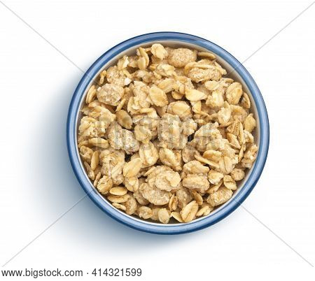 Granola, Crunchy Muesli On White Background, Top View