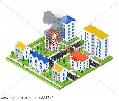 Firefighting Service - Modern Vector Colorful Isometric Illustration