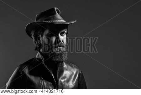 Western Man Wear Leather. Modern West Lifestyle. Serious Brutal Bearded Man. Handsome And Successful