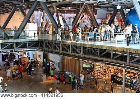 Warsaw, Poland - June 18, 2016: People Visit Kopernik Science Center In Warsaw, Poland. The Institut