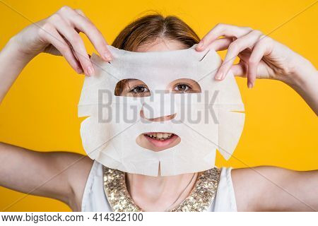 Healthy And Tender Skin. Problem Skin In Adolescents. Teen Girl Use Face Mask.