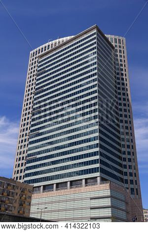 Warsaw, Poland - June 19, 2016: Warsaw Financial Center Office Building In Poland. The Building's Te
