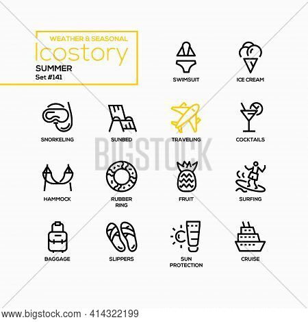 Summer - Modern Line Design Style Icons Set