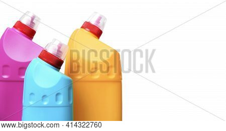 Detergent Bottles Or Containers. Cleaning Supplies Isolated On White Background.housework Supplies.
