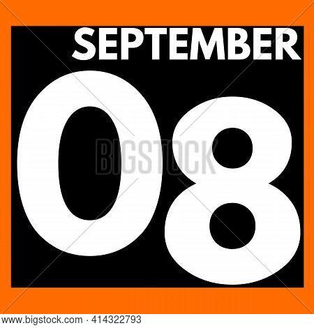 September 8 . Modern Daily Calendar Icon .date ,day, Month .calendar For The Month Of September
