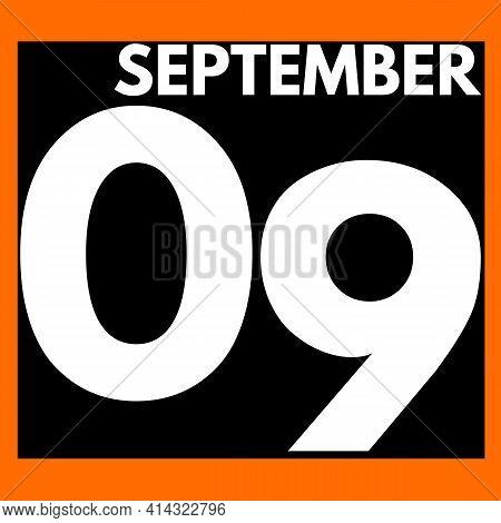 September 9 . Modern Daily Calendar Icon .date ,day, Month .calendar For The Month Of September