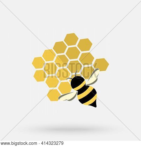 Working Bee On Honeycomb Filled With Honey. Bee Making Honey And Propolis. Flat Style Banner Templat