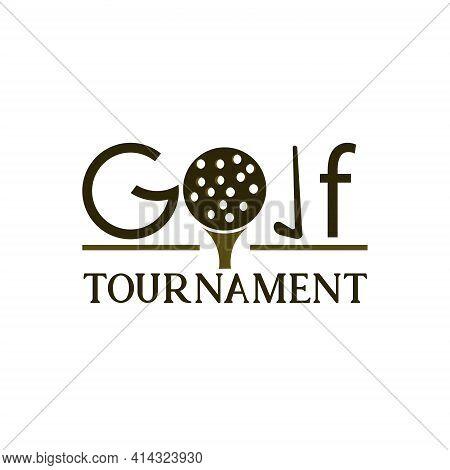 Golf Tournament Design Logo Vector. Illustration Golf Competition