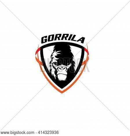 Gorilla Gaming Illustration Logo Vector. Gorilla Animal Vector