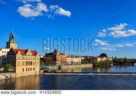 Prague Stare Mesto embankment view from Charles bridge