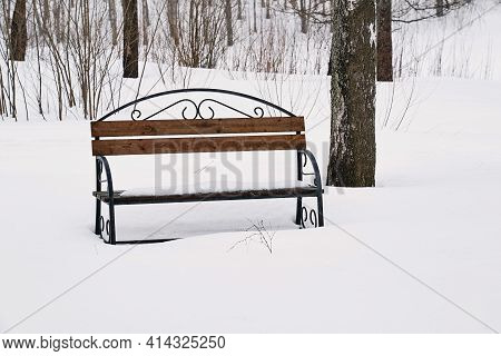 One Empty Old Closeup Bench In A Snowy Winter Park