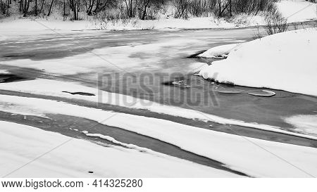 Abstract Spring Landscape Of River Surface Monochrome Tone And Closeup For Natural Background
