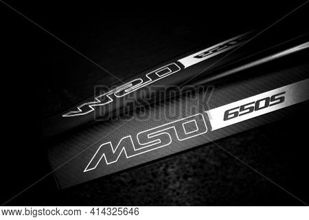 LONDON, UK - CIRCA JUNE 2014: Mclaren MSO 650S carbon fibre side blade in black and white.