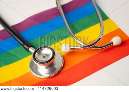 Black Stethoscope On Rainbow Flag Background, Symbol Of Lgbt Pride Month Celebrate Annual In June So