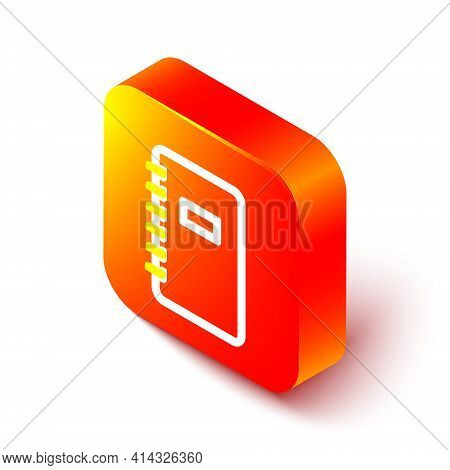 Isometric Line Notebook Icon Isolated On White Background. Spiral Notepad Icon. School Notebook. Wri