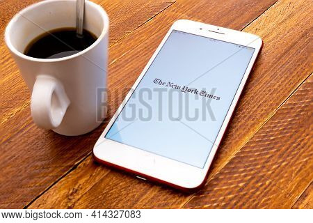 Spain. 03, 26, 2021. Smartphone Screen With The Front Page Of The Newspaper The New York Times. Worl