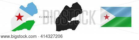 Djibouti. Map With Masked Flag. Detailed Silhouette. Waving Flag. Vector Illustration Isolated On Wh