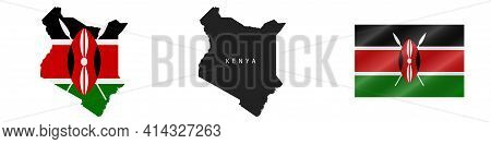 Kenya. Map With Masked Flag. Detailed Silhouette. Waving Flag. Vector Illustration Isolated On White