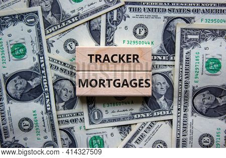 Tracker Mortgage Symbol. Concept Words 'tracker Mortgage' On Wooden Blocks On A Beautiful Background