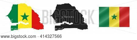 Senegal. Map With Masked Flag. Detailed Silhouette. Waving Flag. Vector Illustration Isolated On Whi