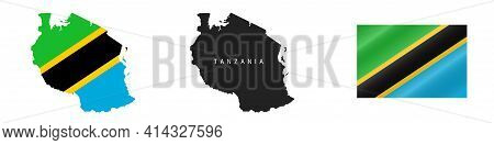 Tanzania. Map With Masked Flag. Detailed Silhouette. Waving Flag. Vector Illustration Isolated On Wh