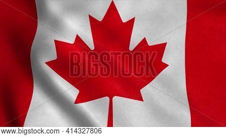 Flag Of Canada Fluttering In The Wind. 3d Illustration.