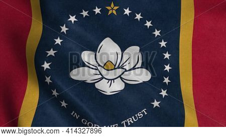 New Mississippi State Flag, Magnolia Flag. Flag Waving In The Wind. 3d Illustration.
