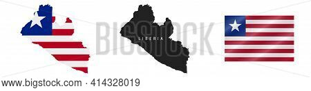 Liberia. Map With Masked Flag. Detailed Silhouette. Waving Flag. Vector Illustration Isolated On Whi
