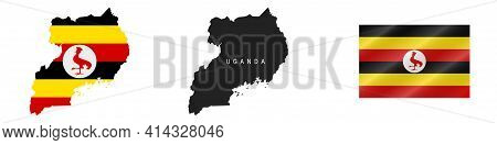 Uganda. Map With Masked Flag. Detailed Silhouette. Waving Flag. Vector Illustration Isolated On Whit