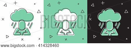 Set Depression And Frustration Icon Isolated On White And Green, Black Background. Man In Depressive