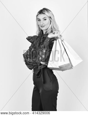 Shopaholic. Sale And Discount. Girl Online Shopping. Woman Prepare For Holidays. Savings On Purchase