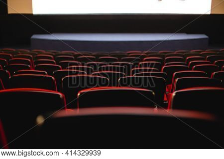 Cinema Interior. Chairs In A Large Empty Cinema Hall Against A White Projection Screen