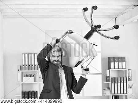 Sick And Tired. Management Consultant Or Analysts Throw Office Chair. Stressed Financial Analysts. W
