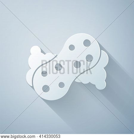 Paper Cut Sponge With Bubbles Icon Isolated On Grey Background. Wisp Of Bast For Washing Dishes. Cle