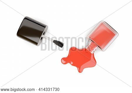 Top View Of Spilled Red Nail Polish Bottle Isolated On White Background. 3d Illustration.