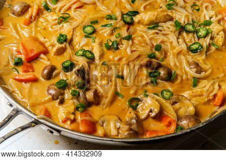 Cooking Thai Food Spicy Coconut Milk Red Curry Soup With Chicken And Rice Noodles