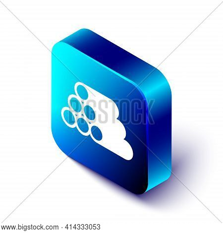 Isometric Wooden Logs Icon Isolated On White Background. Stack Of Firewood. Blue Square Button. Vect