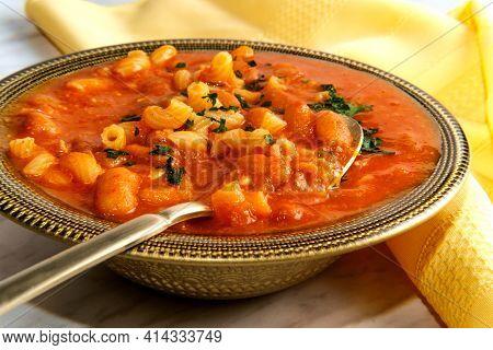 Traditional Italian Peasant Bean Soup Pasta E Fagioli With Elbow Macaroni Noodles