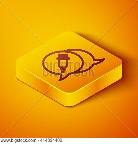 Isometric Line Addiction To The Drug Icon Isolated On Orange Background. Heroin, Narcotic, Addiction