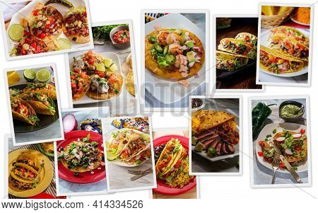 Variety Of Different Mexican Taco Recipes In Collage For Menu Background