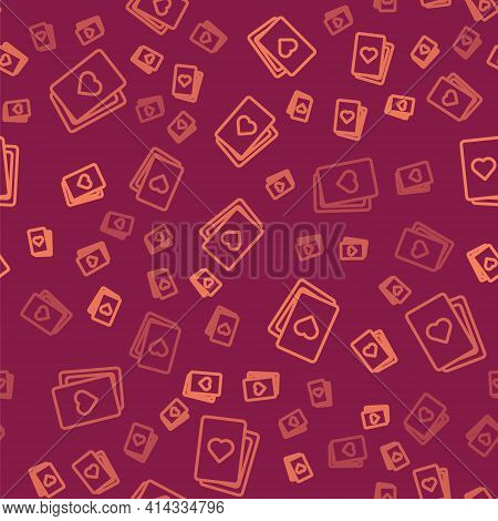 Brown Line Deck Of Playing Cards Icon Isolated Seamless Pattern On Red Background. Casino Gambling.