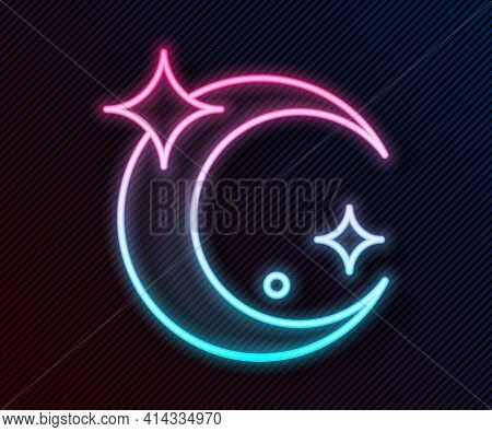 Glowing Neon Line Moon And Stars Icon Isolated On Black Background. Vector