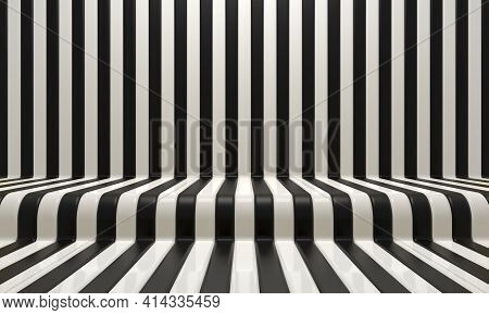 Realistic abstract geometric background with black and white convergence stripes with shadows and glares. 3d rendering illustration