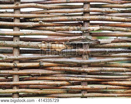 Dense Rows Of Grey Weathered Willow Reeds In An Irregular Pattern At An Fence Panel